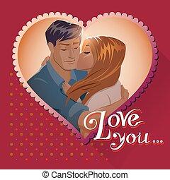 Love postcards. Couple embraces. Love you. Vector...
