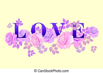 love poster template rose vector illustration