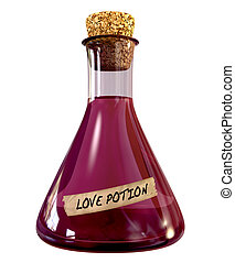 A regular chemistry glass bottle filled with a pink liquid called love potion and sealed with a cork on an isolated background