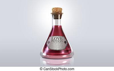 Love Potion - A regular old goblet glass bottle filled with ...