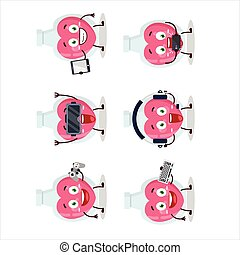 Love potion cartoon character are playing games with various...