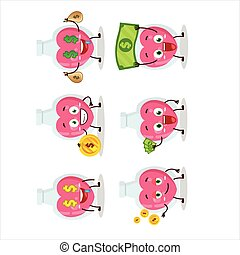 Love potion cartoon character with cute emoticon bring money...
