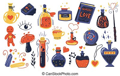 Love potion. Doodle magical elixir. Bottles and vials with alchemical beverages. Isolated witchcraft tools and mystical symbols. Spell book or fortune-telling cards. Drink to awaken senses, vector set