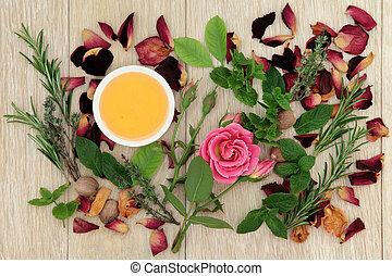 Love Potion Herbs - Honey, herb and rose flower ingredients...