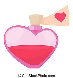 Love potion icon, cartoon style
