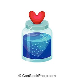 Love potion in small bottle with lid in shape of heart. Bright blue liquid. Magic elixir. Flat vector icon
