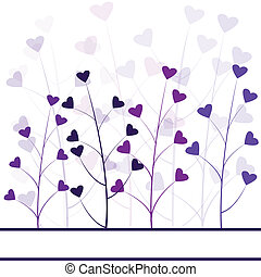 Love purple forest , hearts foliage