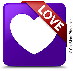 Love purple square button red ribbon in corner
