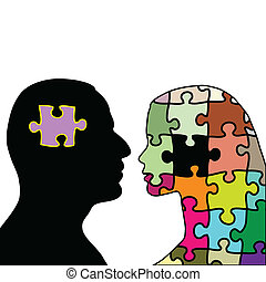 Illustration love puzzles man and woman on a white background.