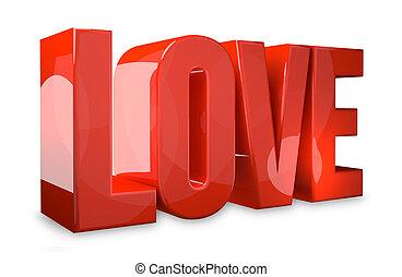 love red 3d render symbol