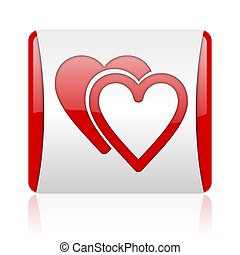 love red and white square web glossy icon