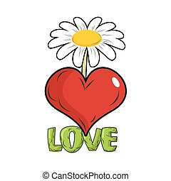 Love. Red heart and flower. Template for tattoos. White Chamomile