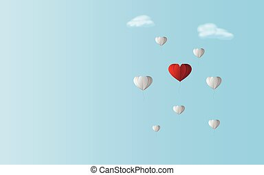 Love red heart balloon between white balloons in blue sky background.Valentine and couple theme artwork Being difference of color concept but going together as teamwork in same direction through air
