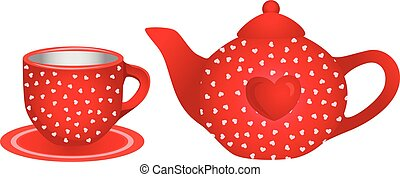 Love red tea cup and teapot