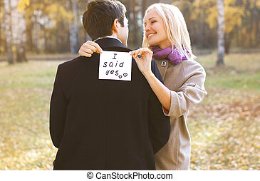 Love, relationships, engagement and wedding concept - man...
