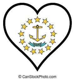Love Rhode Island - Rhode Island state flag within a heart ...