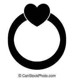 Love ring icon, simple style