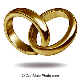 Rings linked together to form the golden shape of a heart representing the concept of love and eternity.