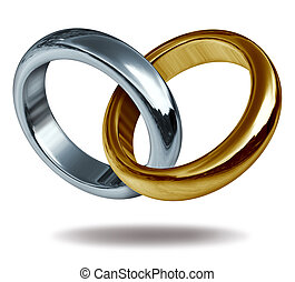 Wedding rings linked together to form a golden and titanium shape of a heart representing the concept of love and eternity.