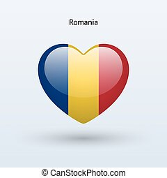 Love Romania symbol. Heart flag icon.