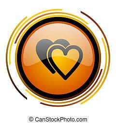 love round design orange glossy web icon