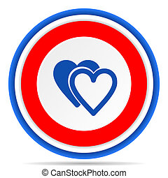 Love round icon, red, blue and white french design illustration for web, internet and mobile applications