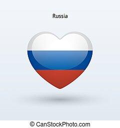 Love Russia symbol. Heart flag icon.