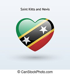 Love Saint Kitts and Nevis symbol. Heart flag icon.
