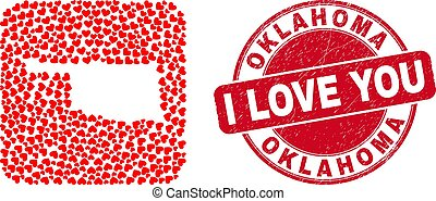 Love Scratched Stamp Seal and Oklahoma State Map Valentine Heart Inverted Mosaic