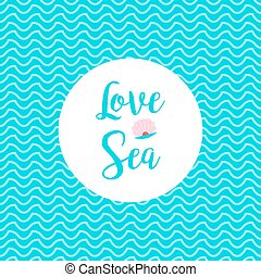 Love sea card with waves pattern