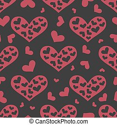 Love seamless pattern with pink hearts