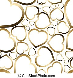 Love seamless vector pattern made from golden hearts...