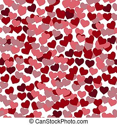 Love semless pattern from gentle flying pink and red hearts. Flat vector cartoon illustration. Objects isolated on white background.