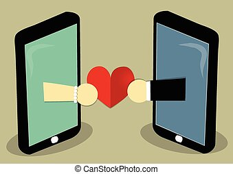 love send online - two mobile with two hand of man and woman...