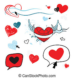 love., serce, isolated., ilustracja
