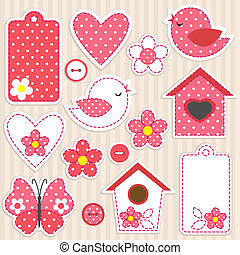 Love set - Vector scrapbook elements - love set