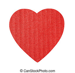 Love shape cardboard heart isolated on a white background