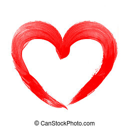 Love shape heart drawn with red paint on a white background