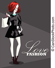 Love shopping banner, Girl cartoon character - Vector illustration