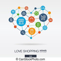 Love shopping integrated thin line icons in heart shape. Digital neural network concept.