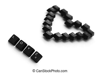 Love sign and heart made ??of keyboard keys