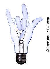 love sign hand lamp bulb with clipping path