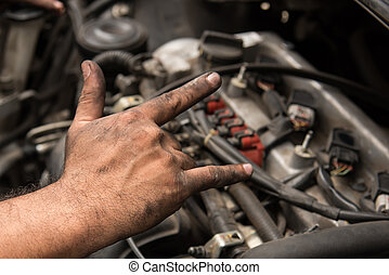 Love sign hand - Close up love sign hand of mechanic