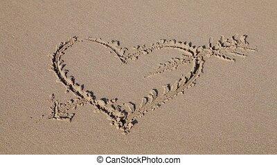 Love sign (heart with an arrow) wri