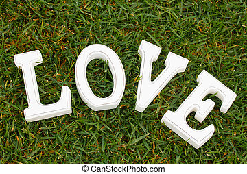 Love sign in grass