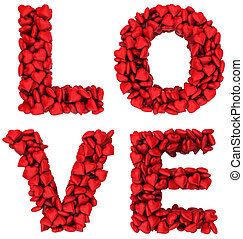 LOVE sign made of little hearts