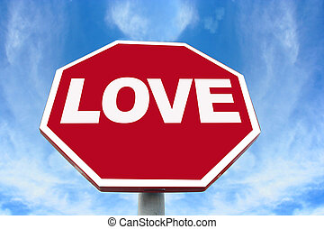 love sign on an octagonal stop sign background.