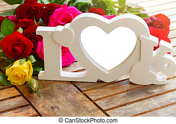 love sign with copy space and fresh flowers