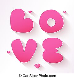 Love sign with hearts