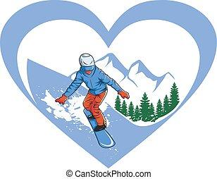 love ski vector illustration